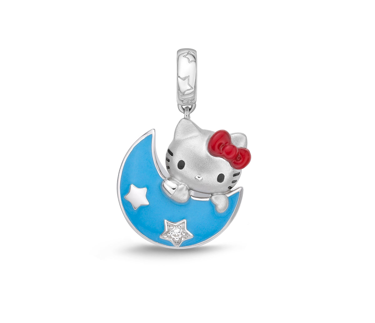 Hello Kitty Blue Moon Silver Diamond Charm