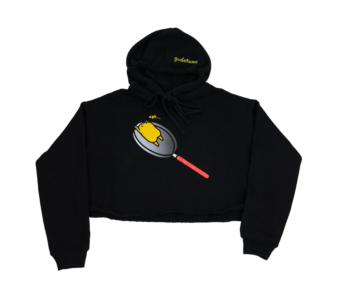 Lazy 80s Gudetama Frying Pan Crop Hoodie