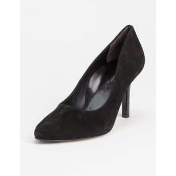 Paul Green Black Suede With Patent Heel Court Shoe