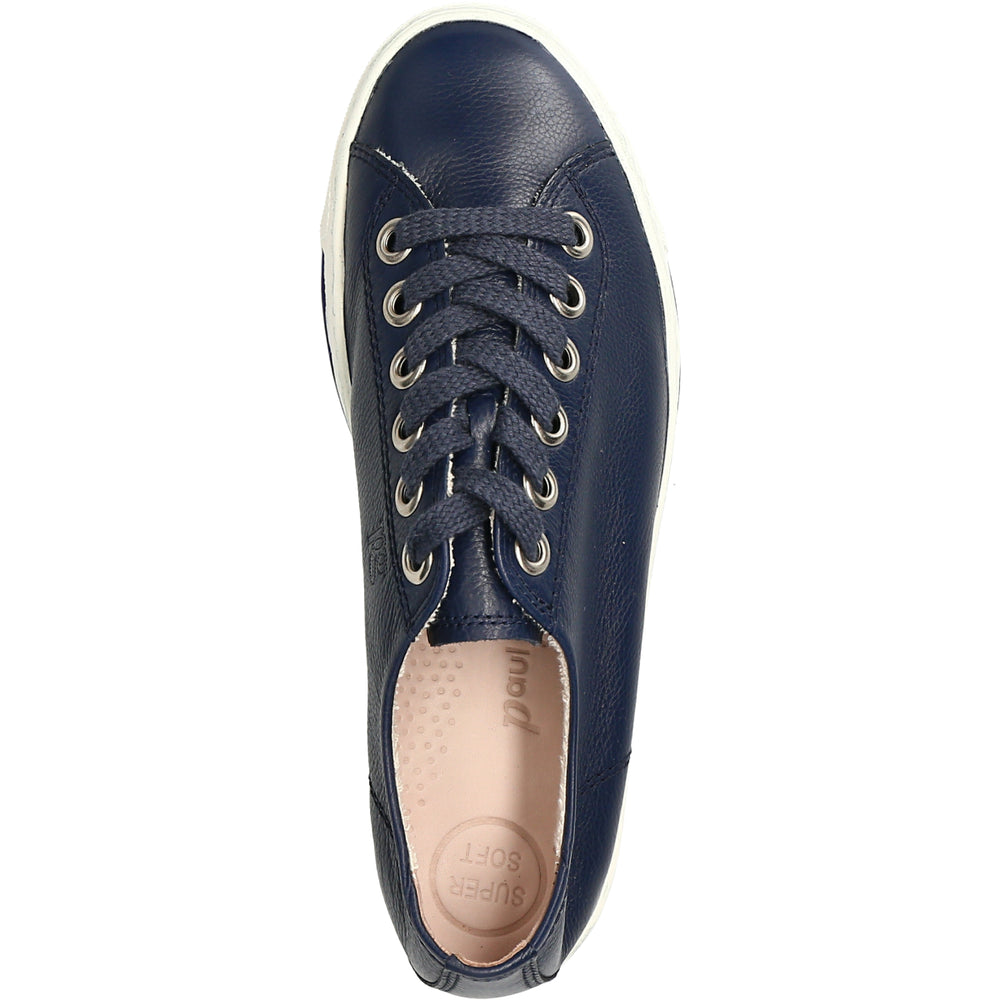 Paul Green Blue Lace Up Leather Trainers 4704-088