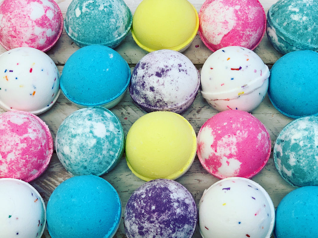 A colorful sampling of some of our bath bombs.
