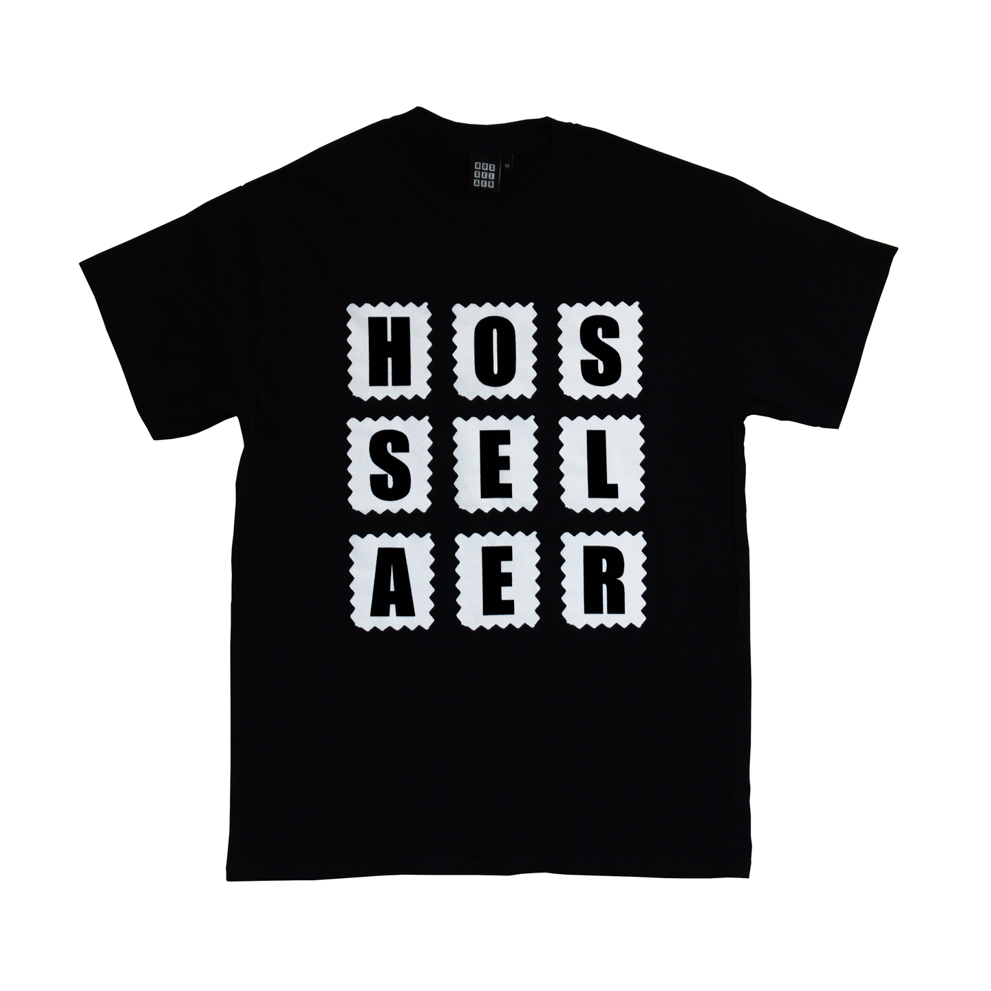 The original Hosselaer Box Logo printed on the Black Classic Fit 100% Cotton Gildan® Ultra  6 oz/yd²