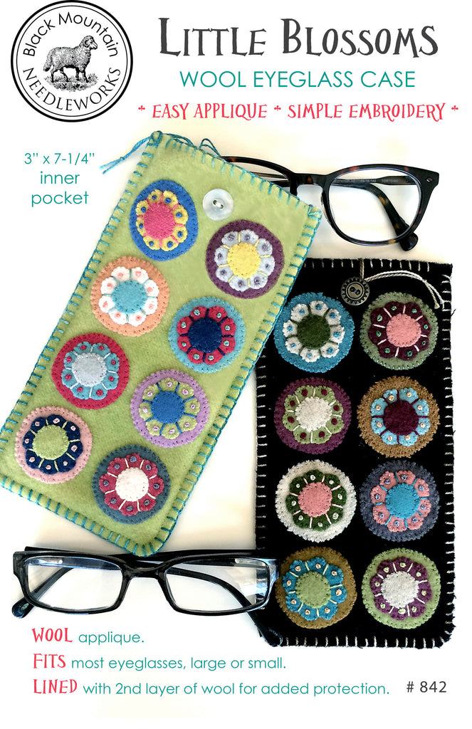 Little Blossoms Wool Eyeglass Case--download PDF pattern