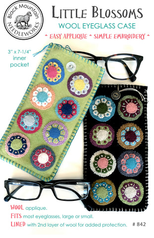 Little Blossoms Wool Eyeglass Case--printed pattern