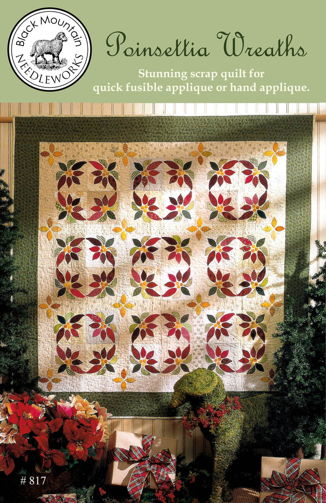 Poinsettia Wreaths--printed pattern