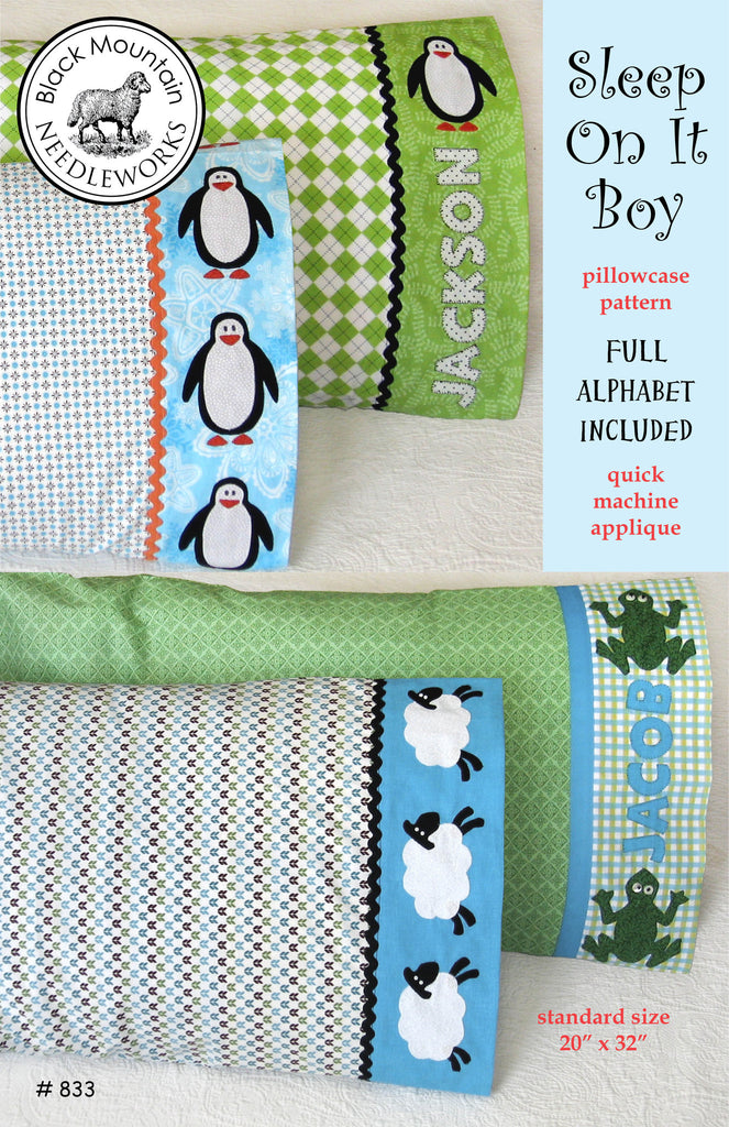 Sleep On It Boy pillowcase--download PDF pattern