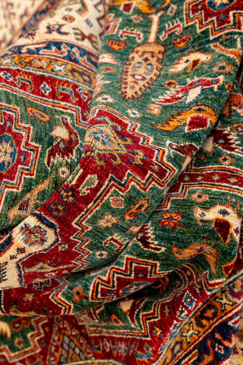 Fine Green and Red Caucasian Rug