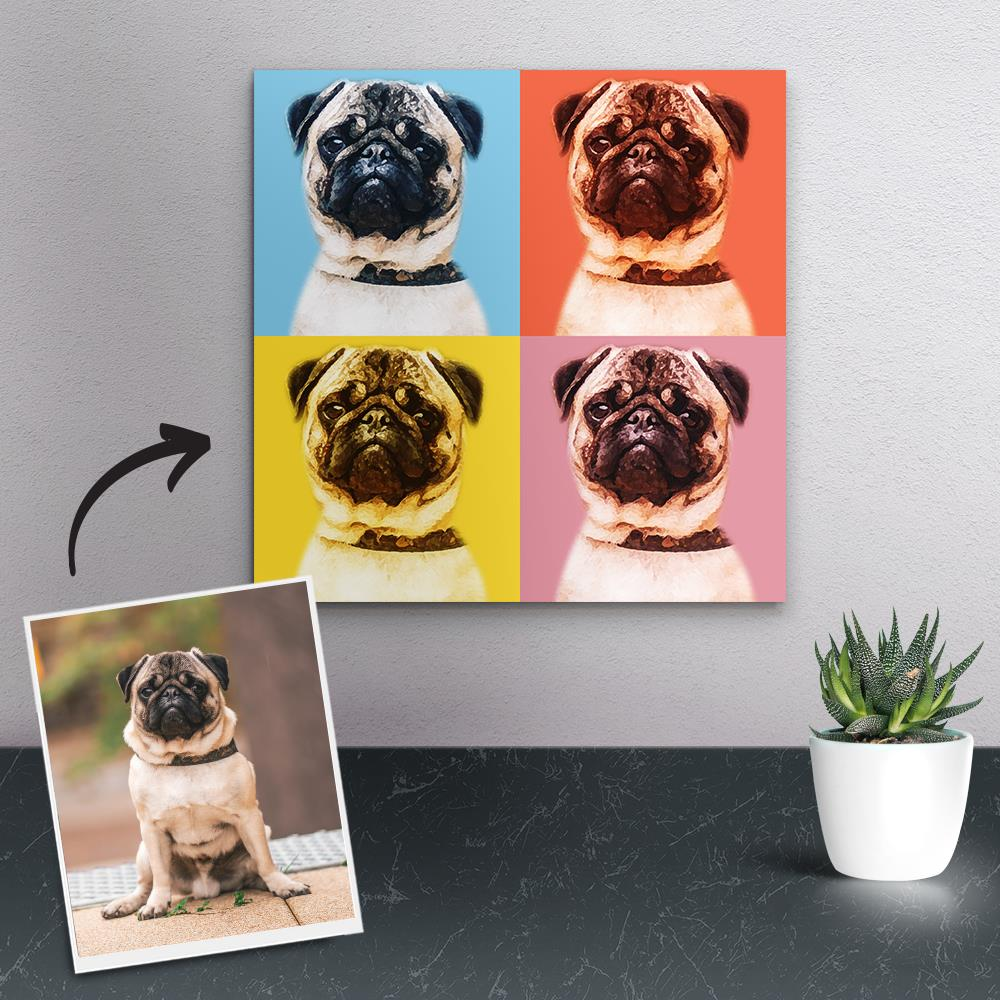 Custom Photo Canvas Prints Andy Warhol Pop Art Portrait Gifts for Pet Owner