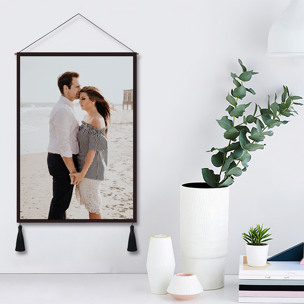 Custom Couple Photo Tapestry - Wall Decor Hanging Fabric Painting Hanger Frame Poster