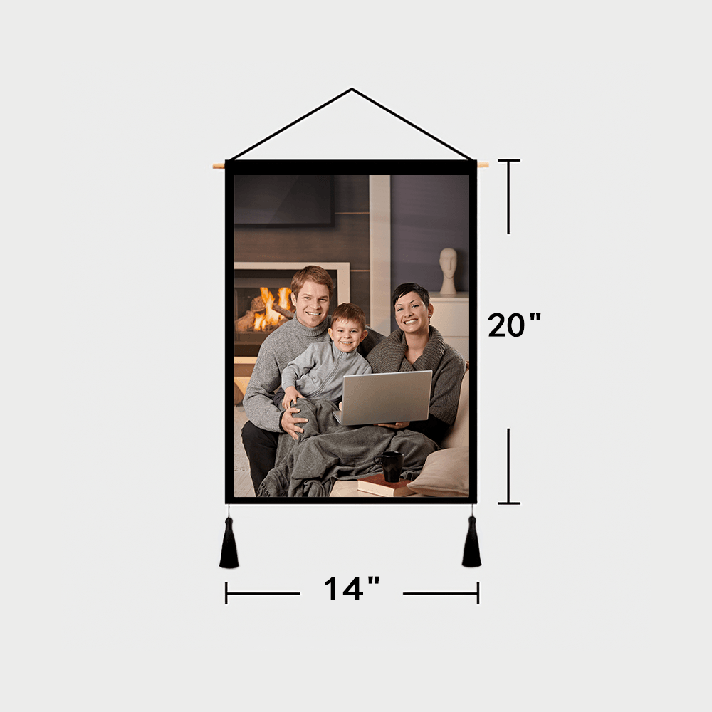 Custom Family Photo Tapestry - Wall Decor Hanging Fabric Painting Hanger Frame Poster
