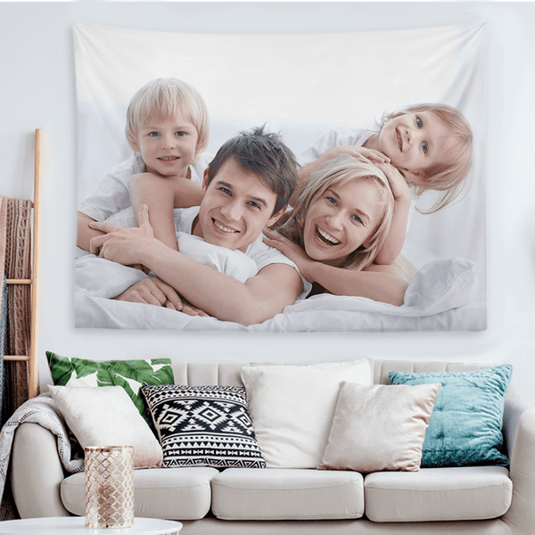 Custom Family Photo Tapestry Short Plush Wall Decor Hanging Painting