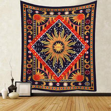 Indian Mandala Tapestry, Celestial Sun Moon, Wall Decor Hanging Tapestry