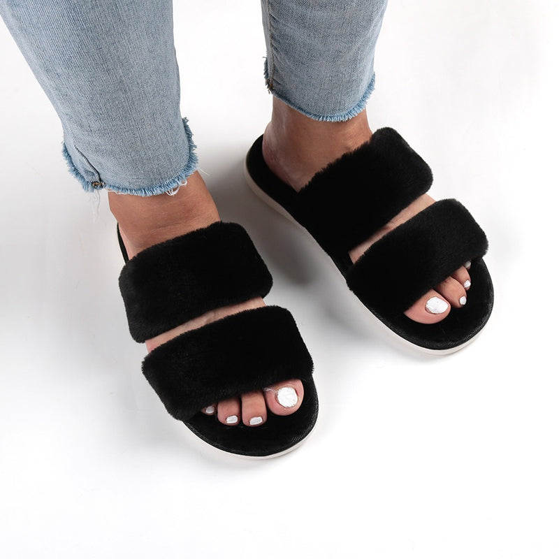 VV DOUBLE STRAP FUR SLIPPERS