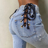 Lace Me Up Denim Jeans