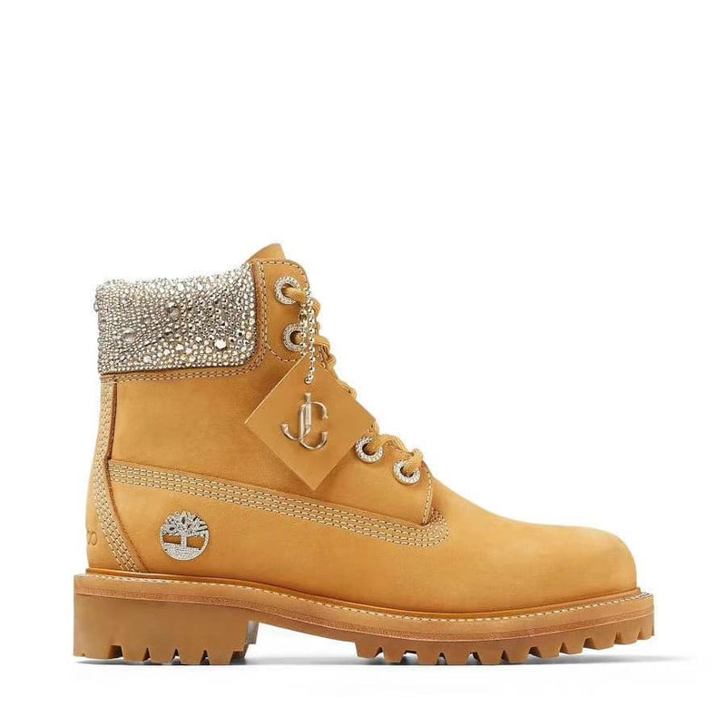 JC X TIMBERLAND Wheat Nubuck Leather Boots with Crystal Collar