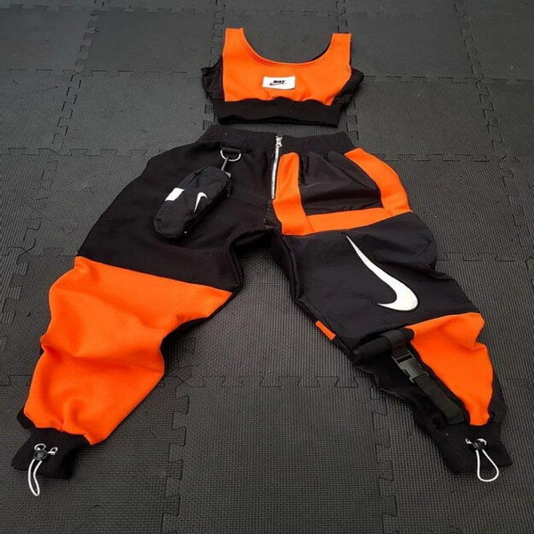 Orange and Black Nike Jogger Set