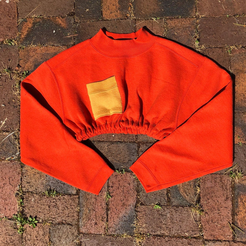 Reworked orange cropped sweater