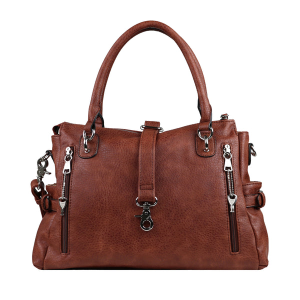 Jessica Concealed Carry Purse Mahogany Satchel by Lady Conceal