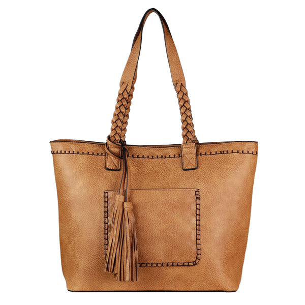 Cora Concealed Carry Purse Cinnamon Stitched Tote Bag by Lady Conceal