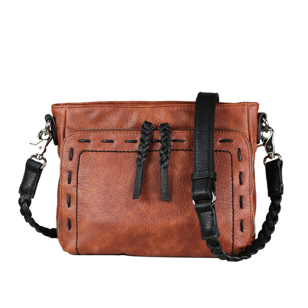 Skylar Concealed Carry Organizer Stitched Mahogany Crossbody by Lady Conceal