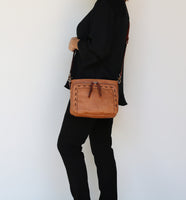 Skylar Concealed Carry Organizer Stitched Cinnamon Crossbody by Lady Conceal