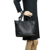 Ella Concealed Carry Purse Black Braided Tote by Lady Conceal