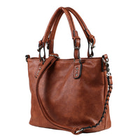 Ella Mahogany Braided Tote Concealed Carry Purse by Lady Conceal