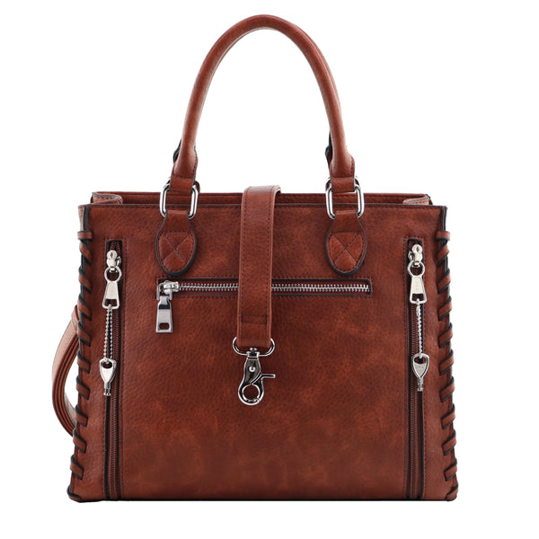 Laced Ann Concealed Carry Purse Mahogany Satchel by Lady Conceal