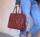 Classy Emma Genuine Leather Concealed Carry Satchel Mahogany