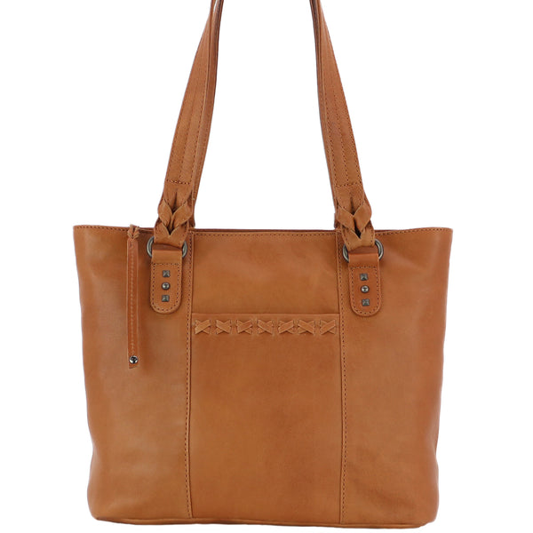 Peyton Concealed Carry Leather Tote Bag Caramel