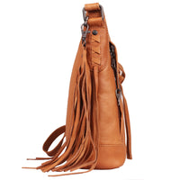 Blake Scooped Concealed Carry Leather Crossbody Purse in Caramel