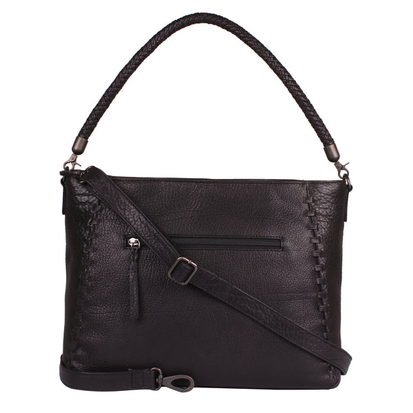 Lacey Genuine Leather Concealed Carry Hobo Tote in Black