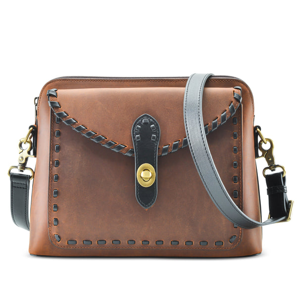 Genuine Leather Evelyn Concealment Crossbody Organizer in Distressed Brown