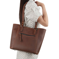 Genuine Leather Maddie Concealed Carry Tote Bag