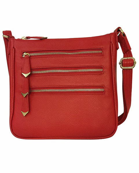 Square 3-Zip Concealed Carry Crossbody Purse