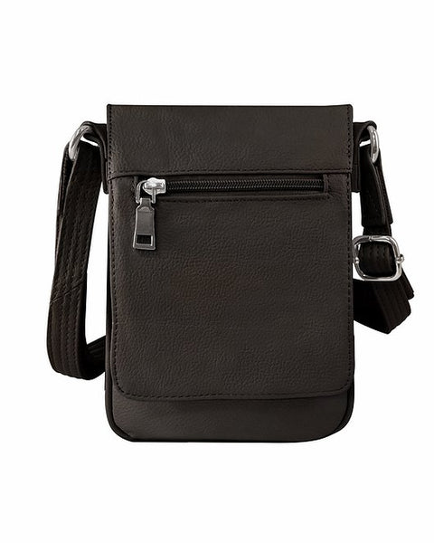 Versatile Vertical Leather Concealed Carry Crossbody Purse