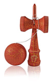 Jumbo Eclipse Kendama - Red and Gold Full Cracked