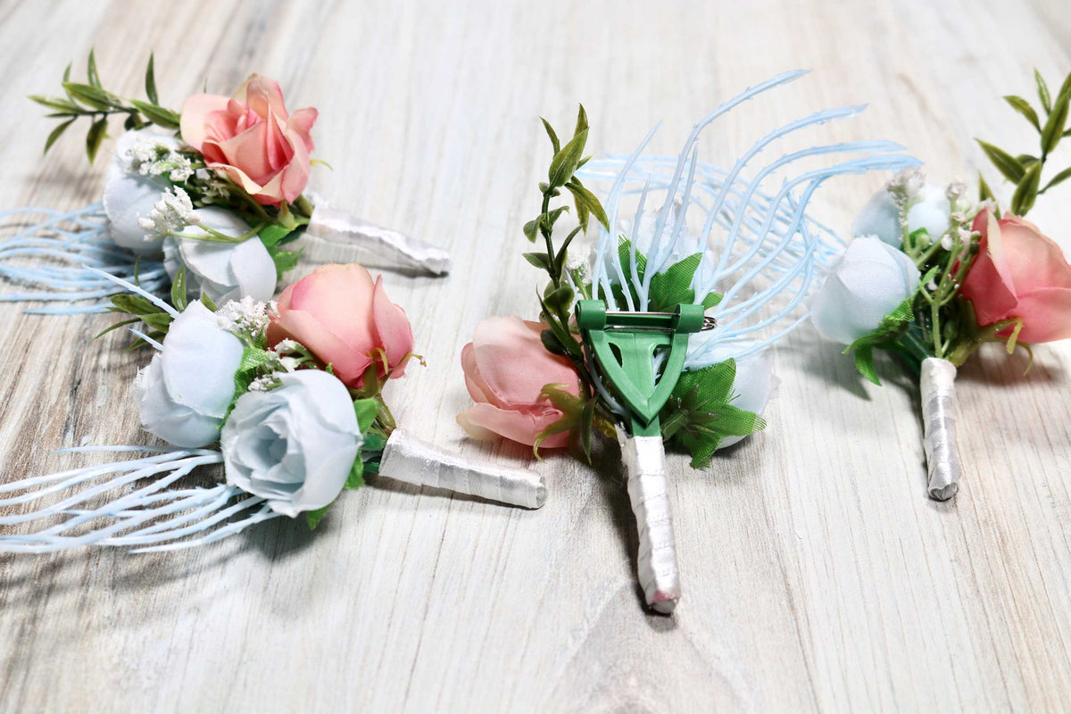 Boutonniere - Something Blue & Blush