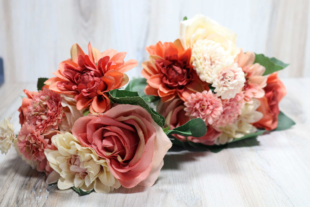 Mixed Dahlia Bunch - Rustic Coral