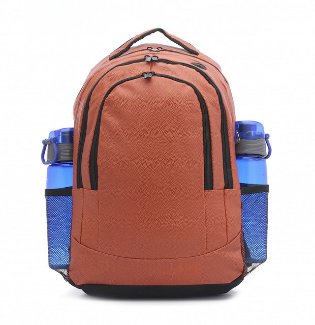 basketball leather backpack with water bottle pockets