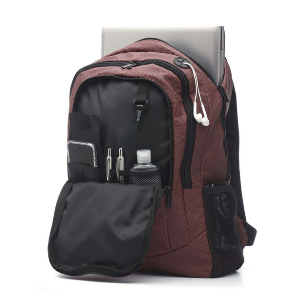 football backpack with headphones hole