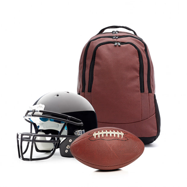 brown football leather backpack