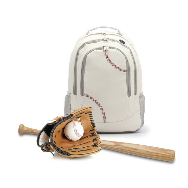 backpack that looks like a baseball