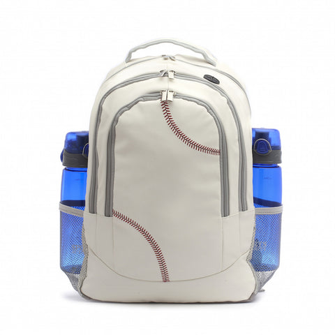 white Baseball material backpack with water bottle holders