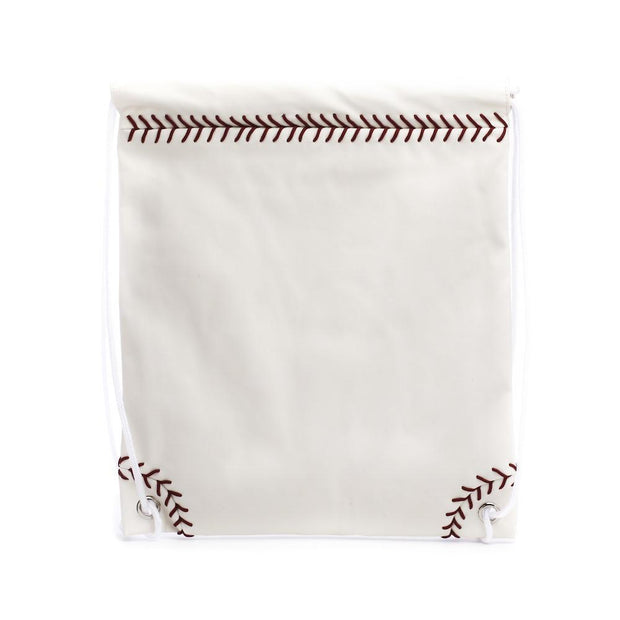baseball leather drawstring backpack