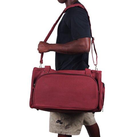 football leather duffel bag with shoulder strap
