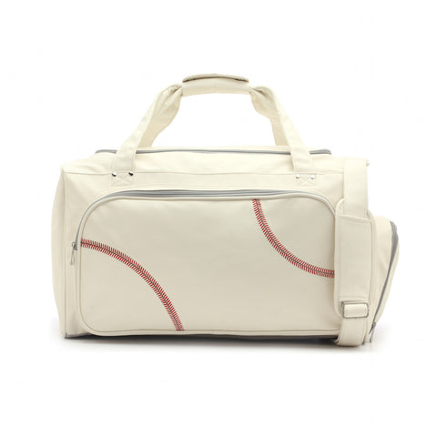 baseball duffel bag with real red ball stitching
