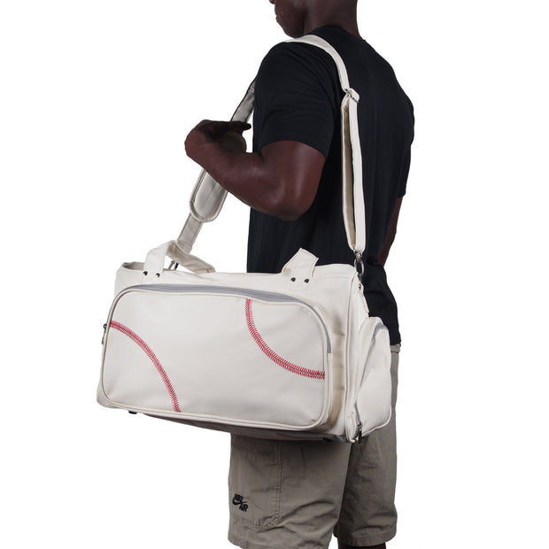 baseball carryon duffel bag with shoulder strap