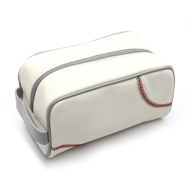 white baseball toiletry travel bag