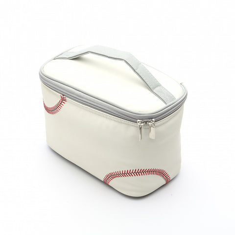 baseball school lunchbox with red stitching